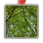 Canopy of Spring Leaves Green Nature Scene Metal Ornament