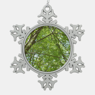 Canopy of Spring Leaves Green Nature Scene Snowflake Pewter Christmas Ornament