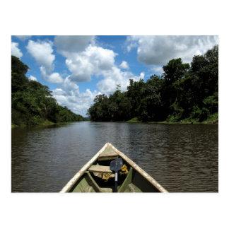 Canotaje abajo del Amazonas Tarjeta Postal