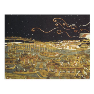 Canotaje de Toyoharu y impresiones 1770 del arte Postal