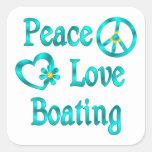 Canotaje del amor de la paz calcomanía cuadradas personalizada