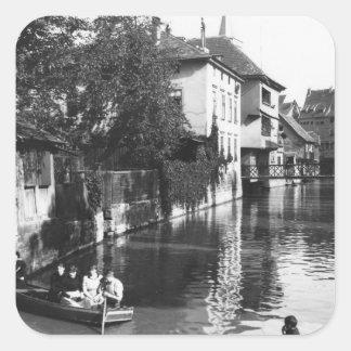 Canotaje en el río Gera en Erfurt Pegatina Cuadrada