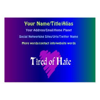 Cansado de odio tarjetas de visita grandes