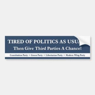 Cansado de política como de costumbre - azul pegatina de parachoque