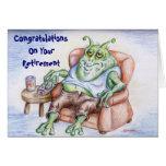 Cansado y retirado tarjeta de felicitación