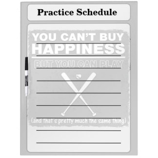 Can't Buy Happiness Baseball Dry-Erase Board