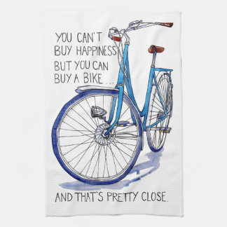Can't buy happiness, blue bike kitchen towels