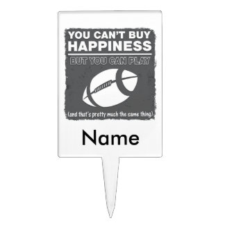 Can't Buy Happiness Football Cake Picks