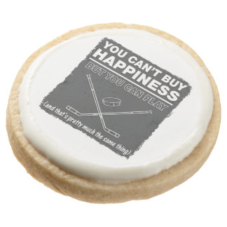 Can't Buy Happiness Hockey Round Shortbread Cookie