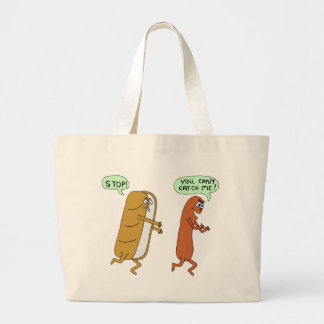 can't catch me tote bags