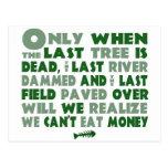 Can't Eat Money Postcard