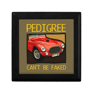Can't fake race pedigree (red classic racing car) jewelry box