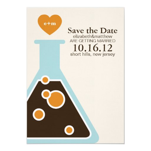 Can't Fight Chemistry Wedding Save the Date 5x7 Paper Invitation Card