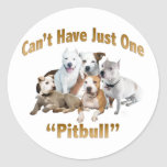 Can't Have Just One Pitbull Round Sticker
