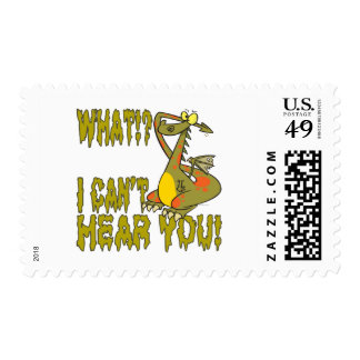 cant hear you ignoring dragon cartoon postage stamp