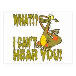 cant hear you ignoring dragon cartoon postcard