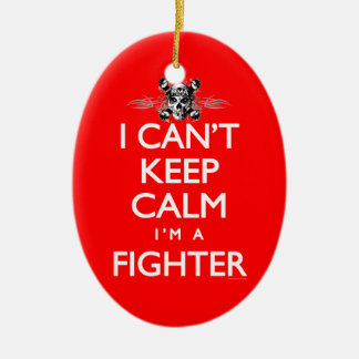 Can't Keep Calm MMA Fighter Double-Sided Oval Ceramic Christmas Ornament