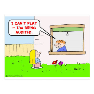 can't play being audited taxes postcard