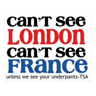 Can't See London or France TSA Humor copy Postcard