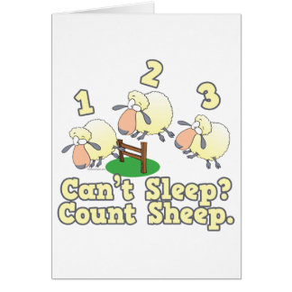 cant sleep count sheep cute cartoon design card