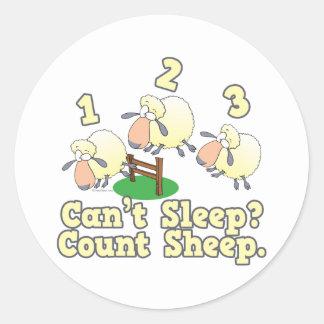 cant sleep count sheep cute cartoon design classic round sticker