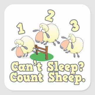 cant sleep count sheep cute cartoon design square sticker