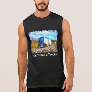 """""""Cant Stop A Trucker!"""" Blue Freight Truck Shirt"""