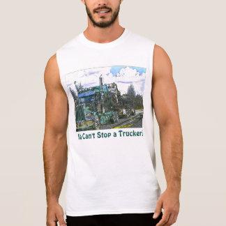 """""""Cant Stop A Trucker!"""" Green Freight Truck Shirt"""