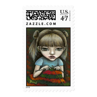 can't stop knitting postage stamp