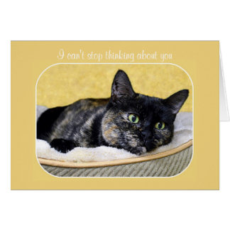 Can't Stop Thinking About You Tortoiseshell Cat Card