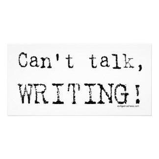 Can't talk, writing! photo greeting card