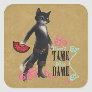 Can't Tame This Dame (color) Square Sticker