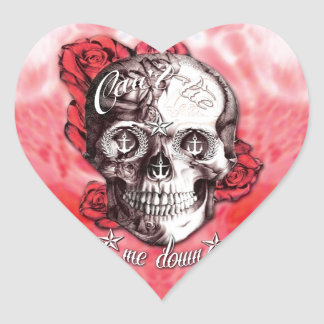 Can't tie me down nautical skull in red and white. heart sticker