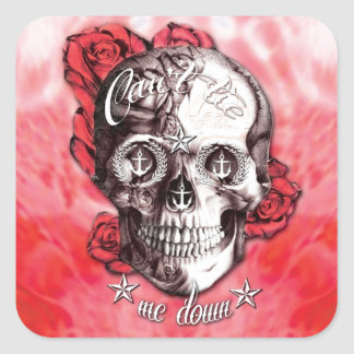 Can't tie me down nautical skull in red and white. square sticker