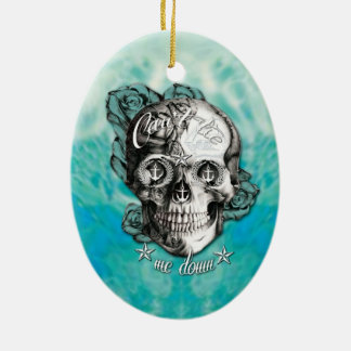 Can't tie me down nautical skull on teal waves. ceramic ornament