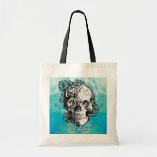 Can't tie me down nautical skull on teal waves. tote bag