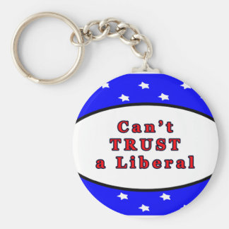 Can't TRUST a Liberal Blue 2 Stars The MUSEUM Zazz Basic Round Button Keychain