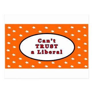 Can't TRUST a Liberal Orange Stars The MUSEUM Zazz Postcard