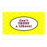 Can't TRUST a Liberal Yellow Stars The MUSEUM Zazz Postcard