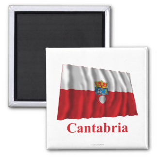 Cantabria waving flag with name 2 inch square magnet