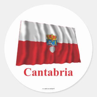 Cantabria waving flag with name classic round sticker