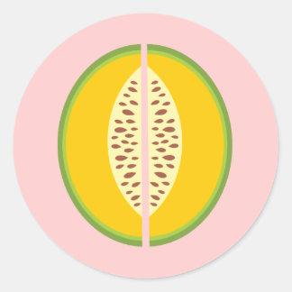 Cantaloupe Cantaloup Mushmelon Fruit Sweet Health Classic Round Sticker