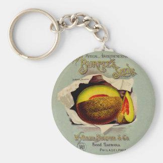 Cantaloupe Fruit Seed Advertising Vintage Keychain