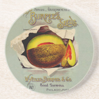 Cantaloupe Fruit Seed Advertising Vintage Sandstone Coaster
