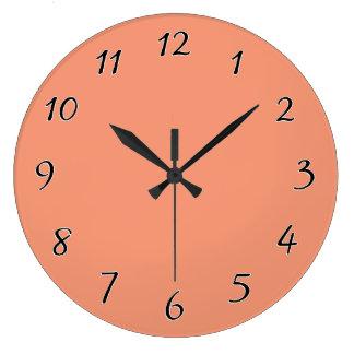Cantaloupe pink Orange template to Customize Large Clock