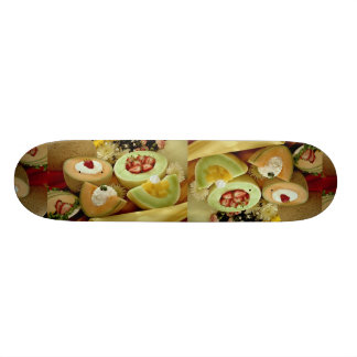 Cantaloupes and melons on cutting board with flowe skate board