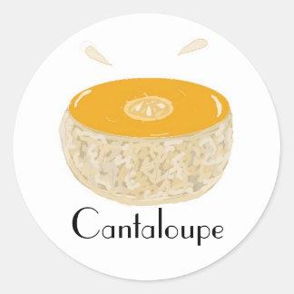 Cantalupo jugoso pegatina redonda