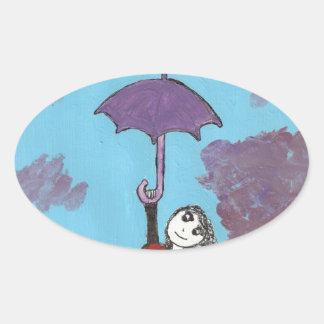 Cantando en las nubes, chica gótico del paraguas pegatinas de óval