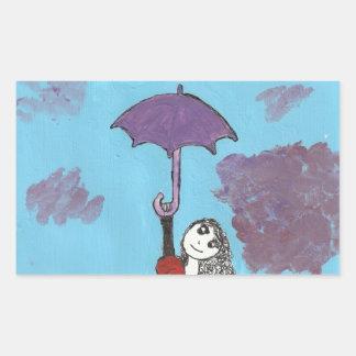 Cantando en las nubes, chica gótico del paraguas rectangular pegatinas