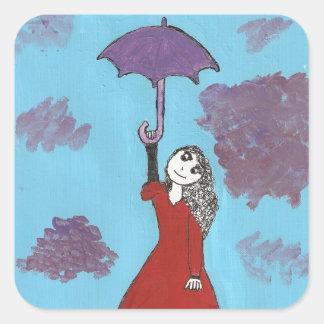 Cantando en las nubes, chica gótico del paraguas pegatina cuadrada